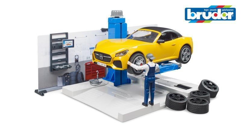 Bruder 62110 - Autodílna s autem a figurkou